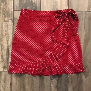 NASTY GAL red/white polka dot mini skirt Size 2